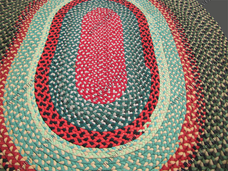 SUPERB Antique American FOLK ART Braided rug rr2551