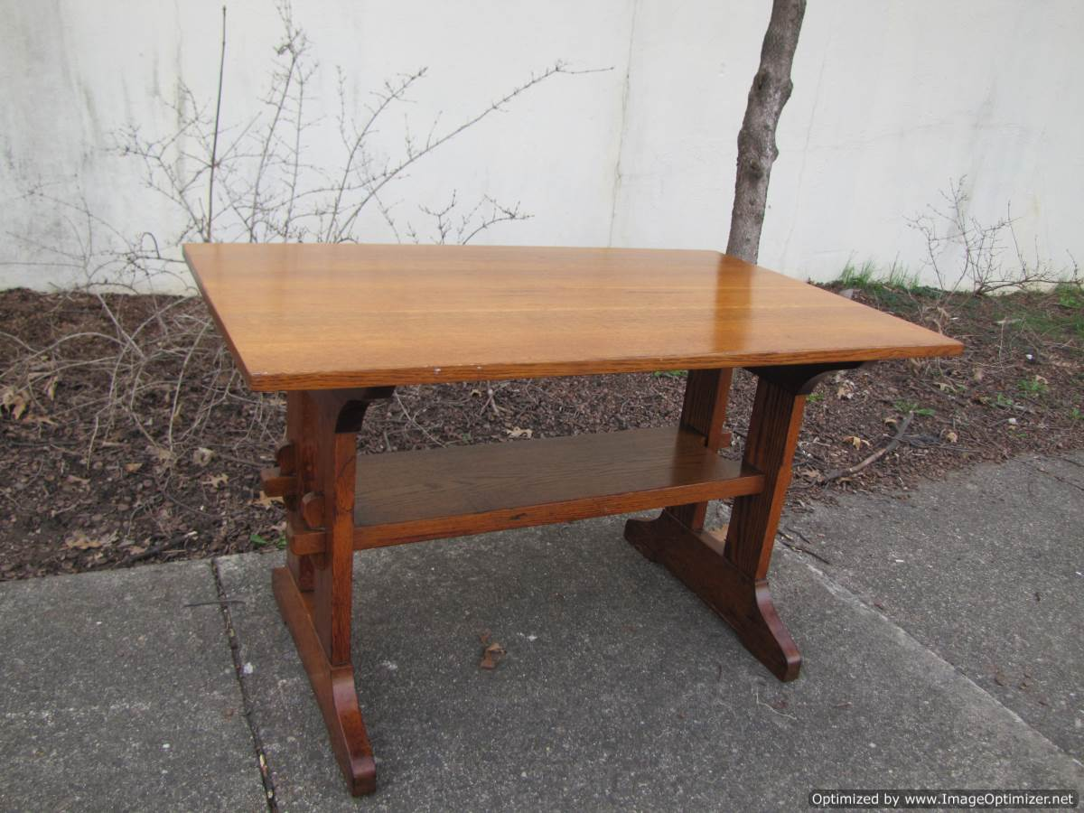 Home » Shop » Antique Furniture » Tables » Antique L U0026 JG Stickley Trestle  Table W2179