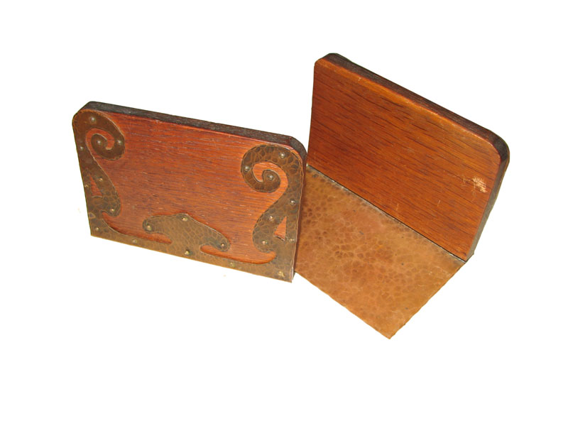 Oak & Copper Bookends F6886