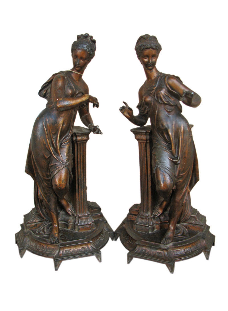 Pair of Bronzed Bookends or Statues F8207