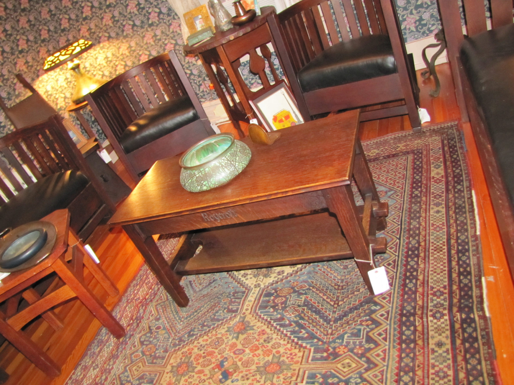 Home » Shop » Antique Furniture » Roycroft » Superb Antique Roycroft Bench  W2716