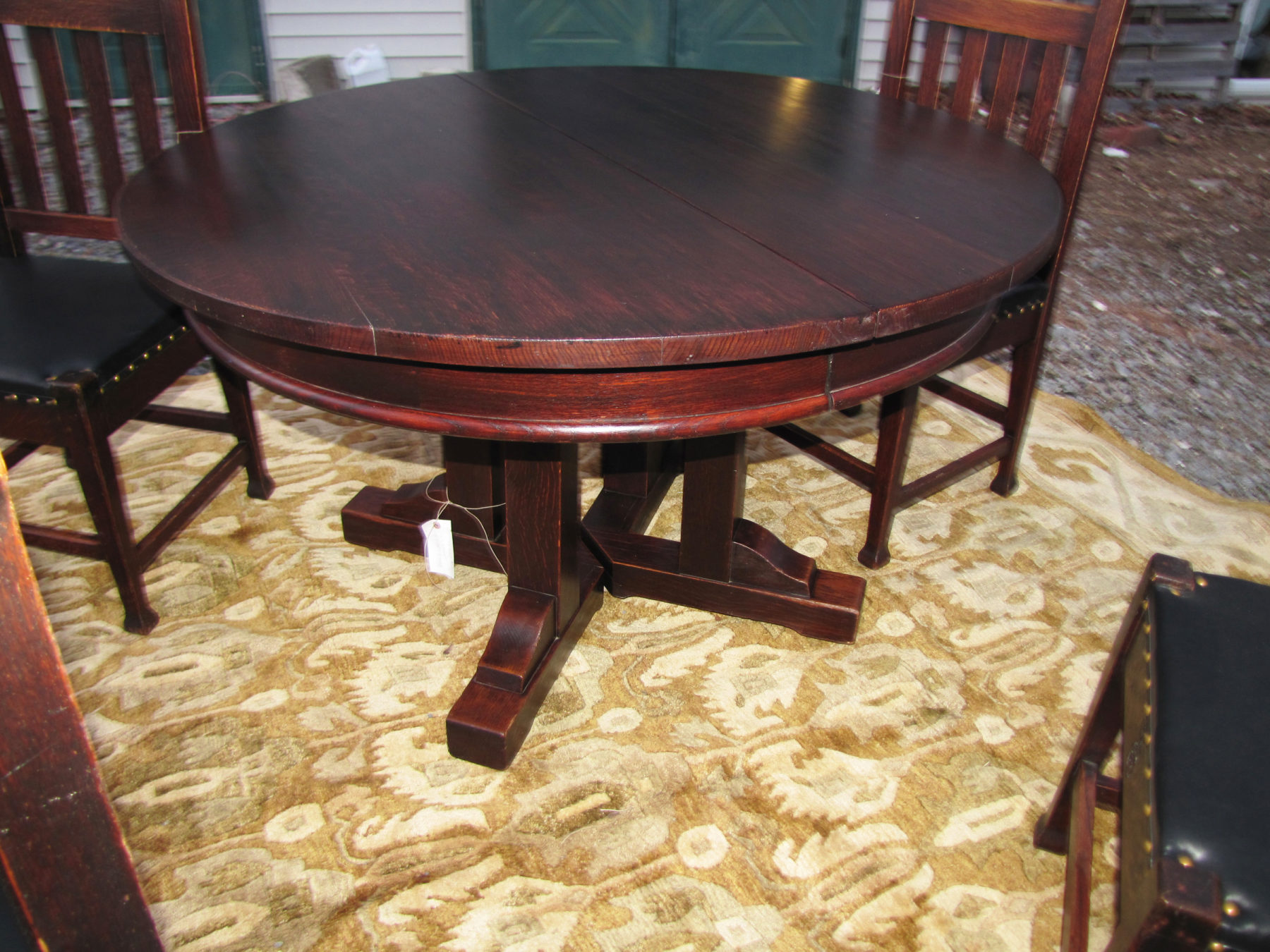 Home » Shop » Antique Furniture » Roycroft » Superb Set Of Roycroft Dining  Table And Four Chairs W4148