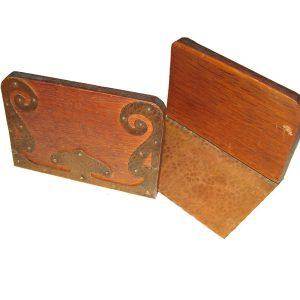 Oak & Copper Bookends F6886