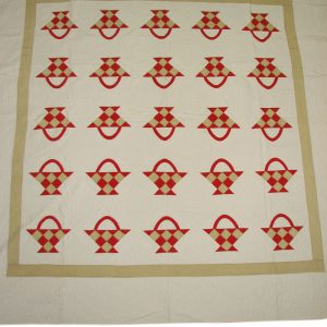 Red Basket Appliqué Quilt F9972