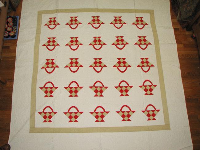 Red Basket Appliqué Quilt F9972