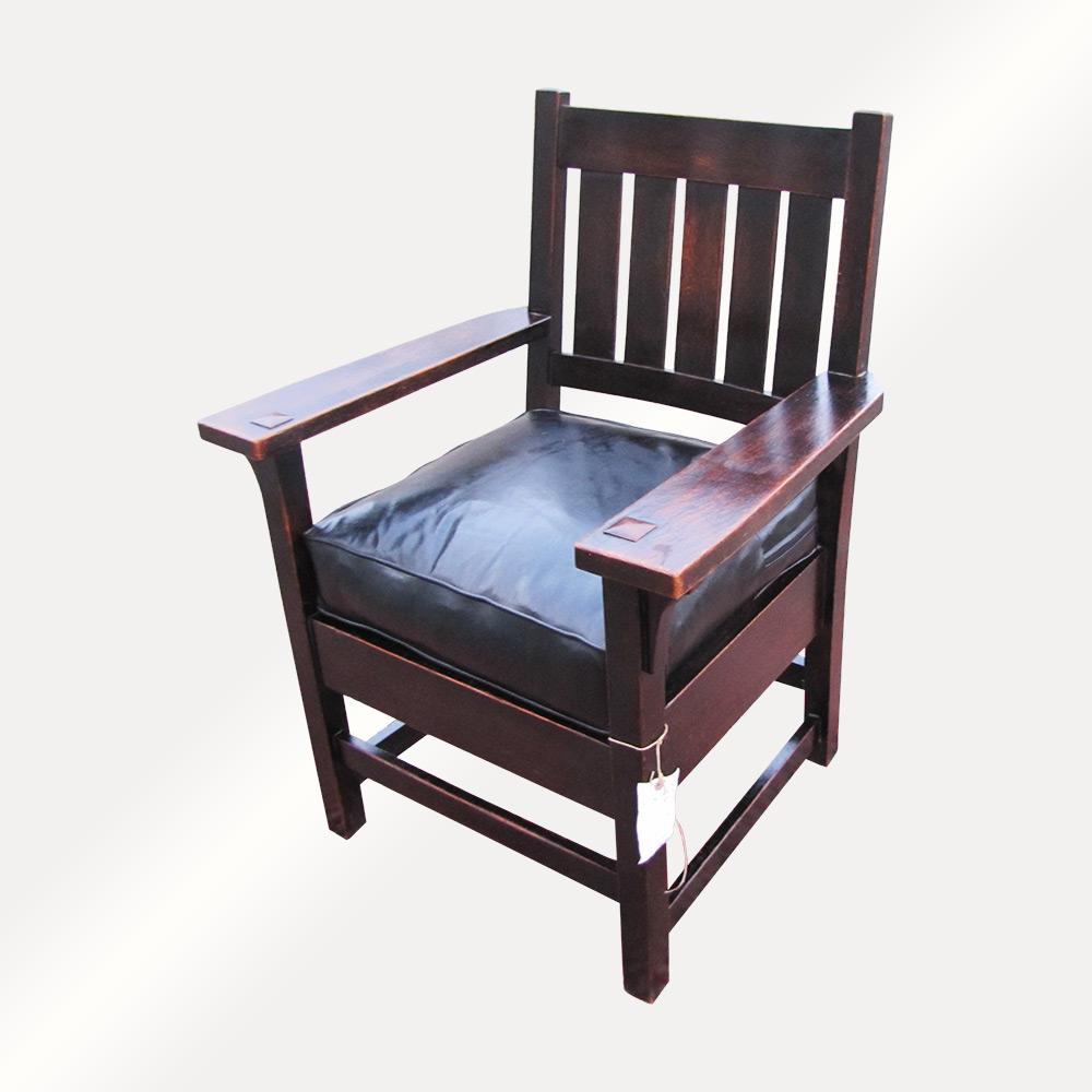 Antique Early Gustav Stickley Arm Chair FF613_Dark - joenevo