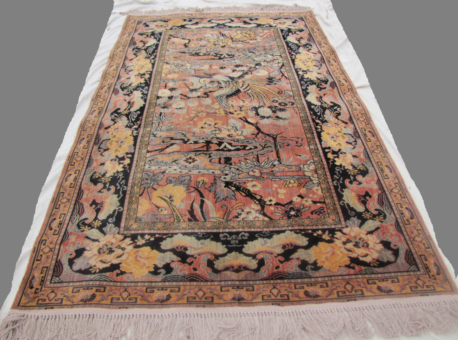 Superb And Rare Antique Anglo Persian Wilton Rug Bird Of