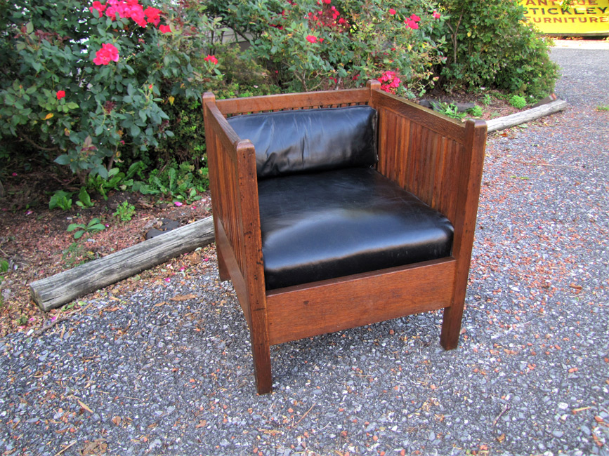 Home » Shop » Antique Furniture » Chairs » Rare And Superb Antique Gustav  Stickley Cube Spindle Chair W1248 - Rare And Superb Antique Gustav Stickley Cube Spindle Chair W1248
