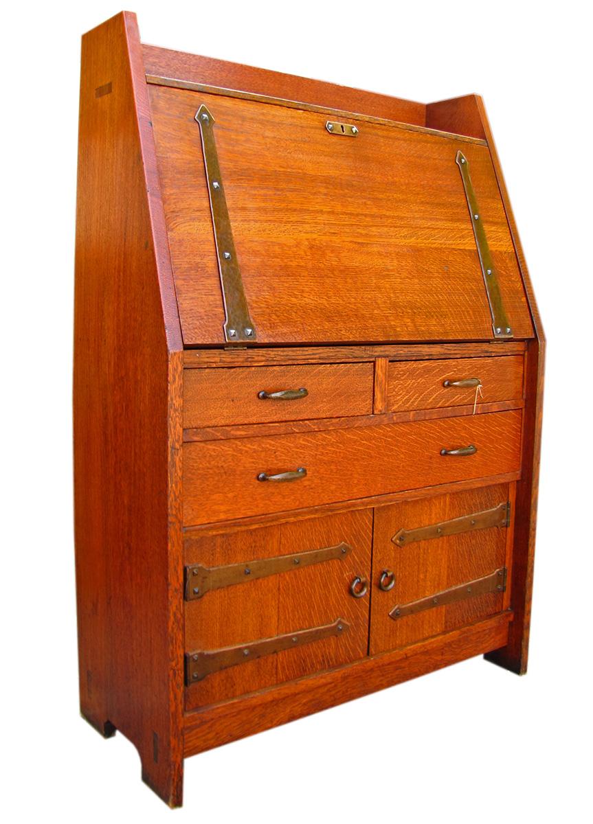 Home Antique Furniture Desks Gustav Stickley Drop Front Desk W1407