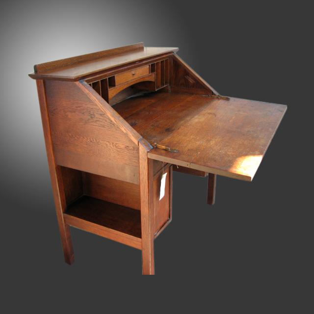 Home » Shop » Antique Furniture » Desks » Antique Lu0026JG Stickley Mission  Arts And Crafts Drop Front Desk W2217