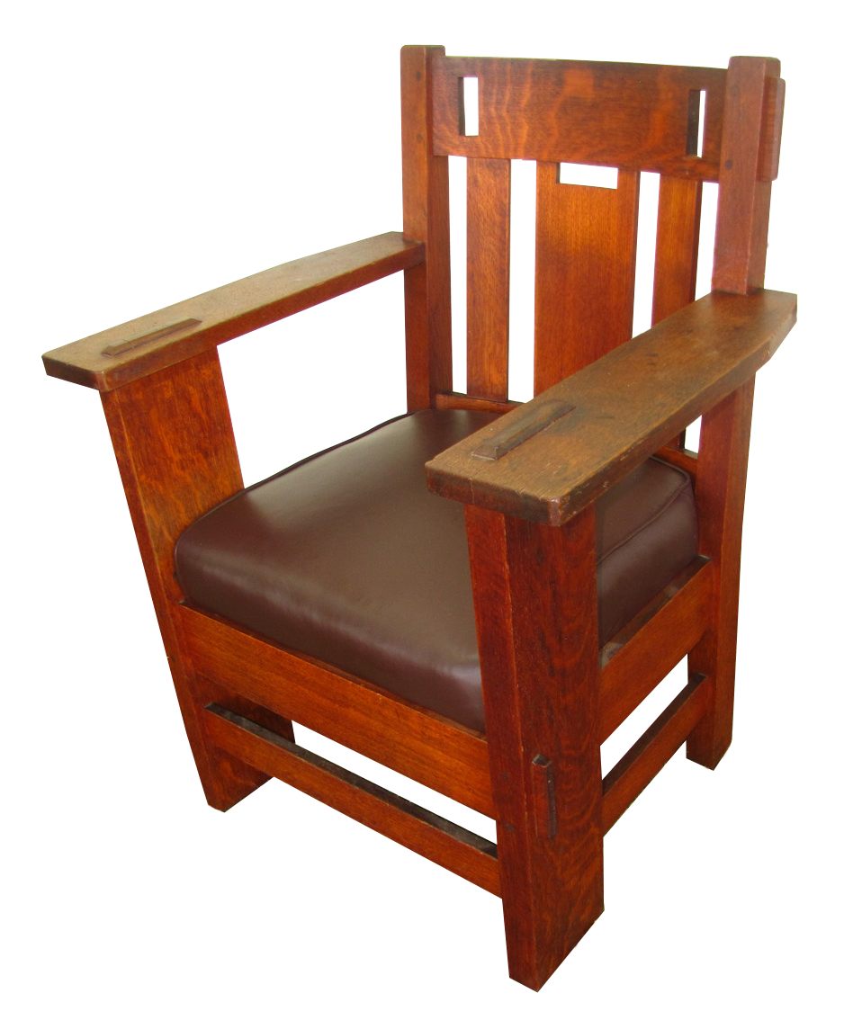 Superb Charles Stickley Armchair With Cutouts W2482 - joenevo