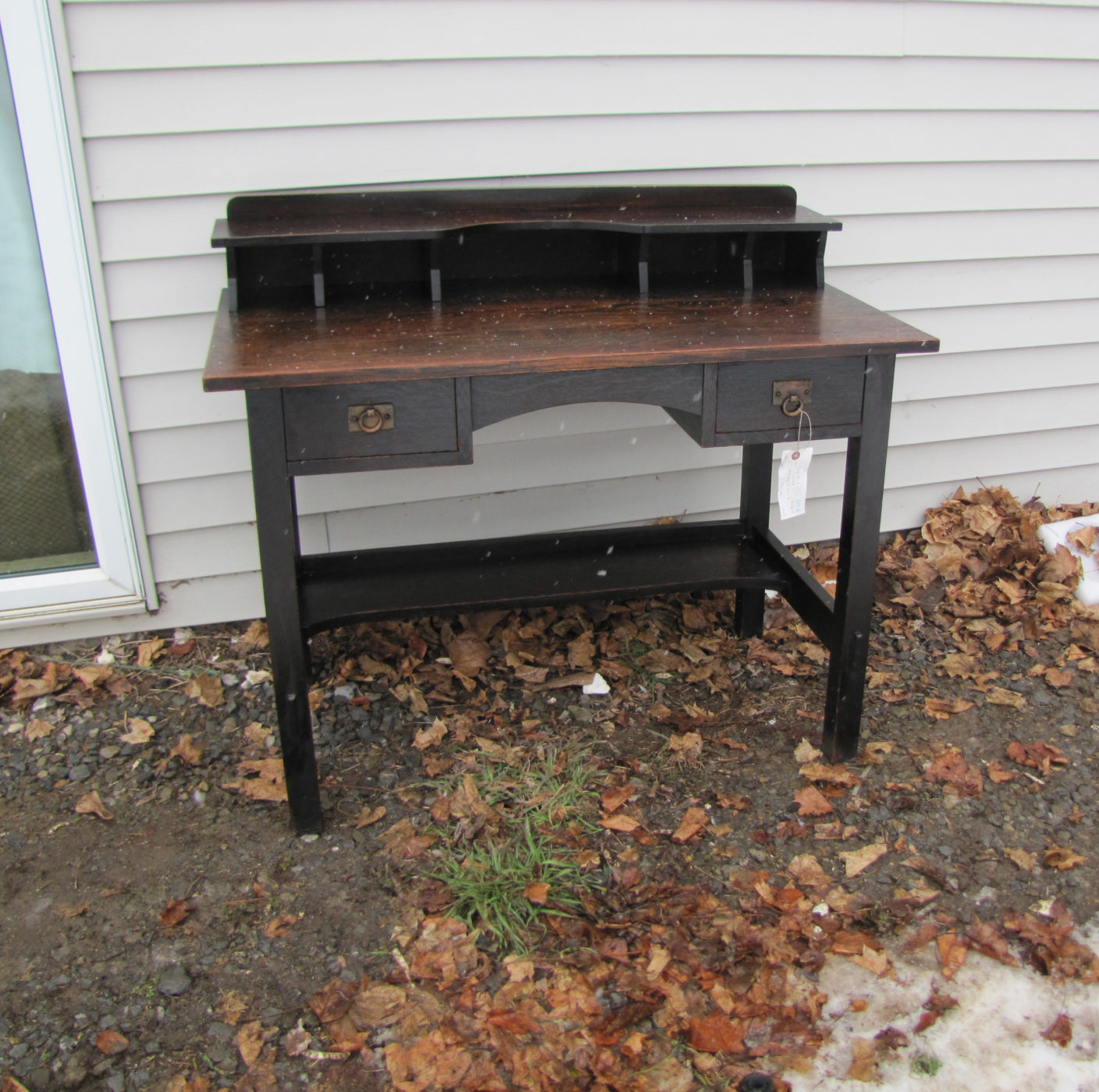 straps hammered desk stickley mission with voorhees craftsman brothers oak furniture rare front product drop