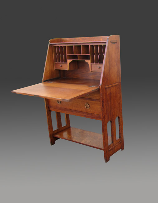Antique Stickley Brothers Drop Front Desk With Cut Out
