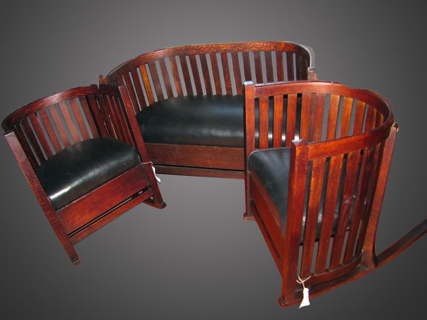 Home » Shop » Antique Furniture » Other » Antique Plail Brothers Barrel  Seating Set (4 pcs.) w2645 - Antique Plail Brothers Barrel Seating Set (4 Pcs.) W2645 - Joenevo