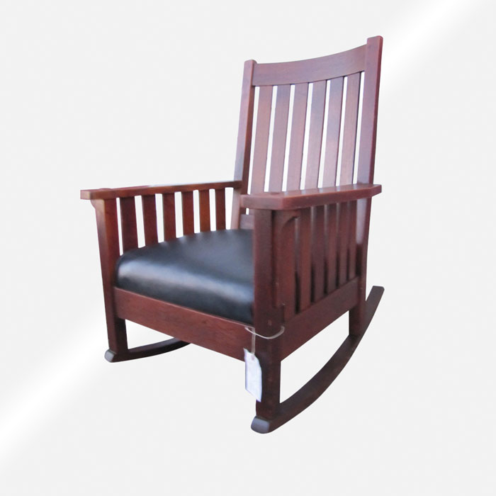 Enjoyable Superb Antique Ljg Stickley Large Rocking Armchair With Slats W2842 Creativecarmelina Interior Chair Design Creativecarmelinacom