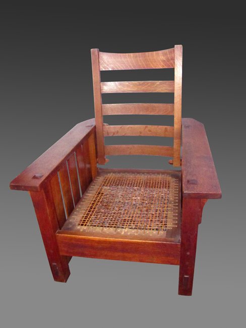 Home » Shop » Antique Furniture » Chairs » Gustav Stickley Antique Early  Morris Chair W3125