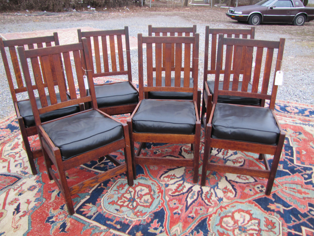 Home » Shop » Antique Furniture » Chairs » Antique Set Of Seven Gustav Stickley  Chairs W3170