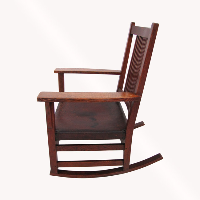 Home » Shop » Antique Furniture » Rockers » Antique Gustav Stickley Spindle  Arm Rocking Chair W3916