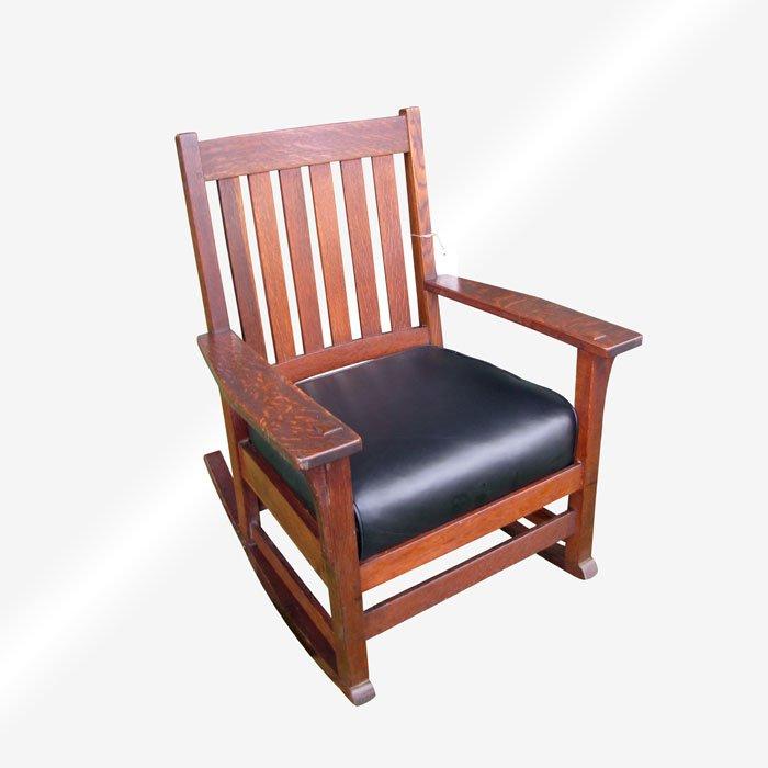 Sensational Superb Antique Ljg Stickley Arm Rocking Chair W4822 Creativecarmelina Interior Chair Design Creativecarmelinacom