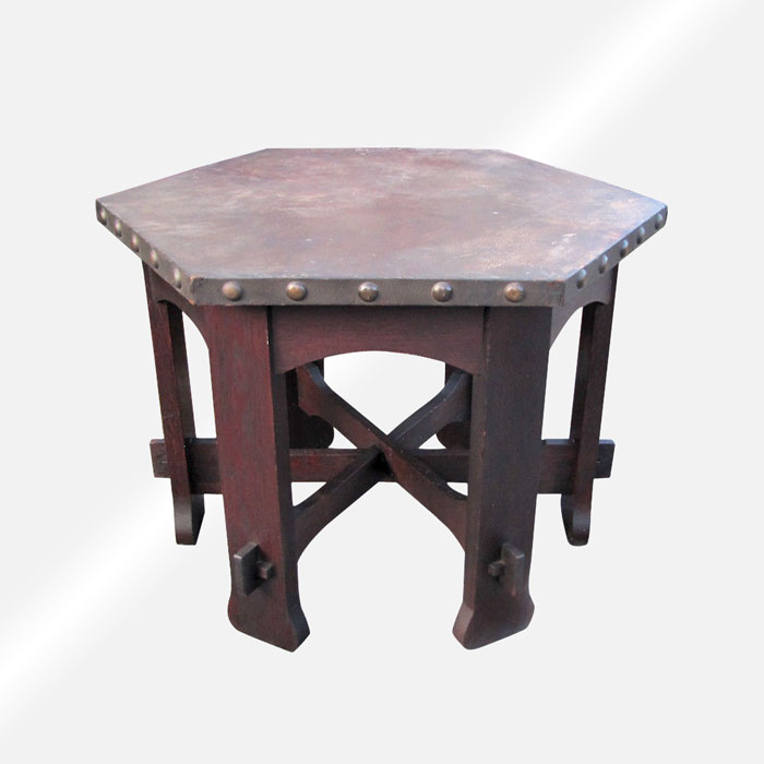 Superb Rare Antique Shop Of The Crafters Hexagon Top Table W5004