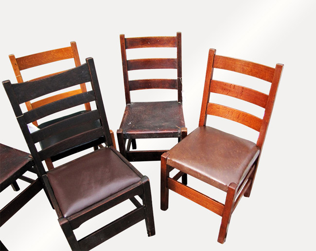 Home » Shop » Antique Furniture » Chairs » Antique Group Of Six Gustav Stickley  Chairs W6666